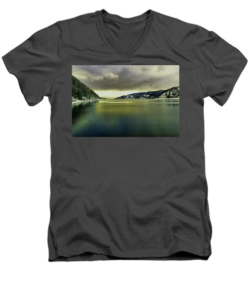Men's V-Neck T-Shirt featuring the photograph Lake Coeur D' Alene by Jeff Swan
