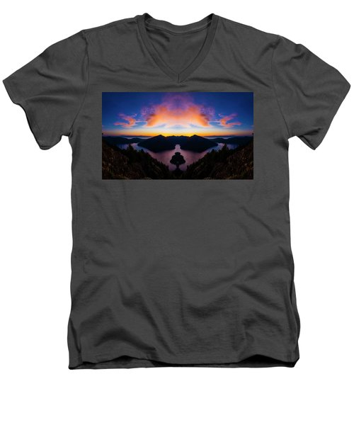 Lake Crescent Reflection Men's V-Neck T-Shirt by Pelo Blanco Photo