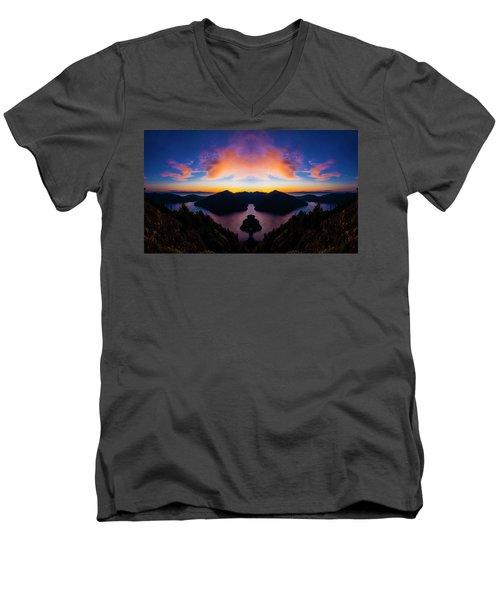 Lake Crescent Reflection Men's V-Neck T-Shirt