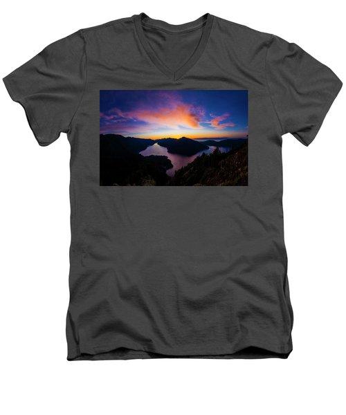 Lake Crescent Sunset Men's V-Neck T-Shirt