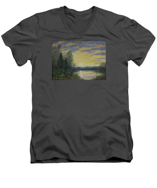 Men's V-Neck T-Shirt featuring the painting Lake Dawn by Kathleen McDermott