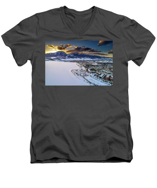 Men's V-Neck T-Shirt featuring the photograph Lake Dillon Sunset by Sebastian Musial