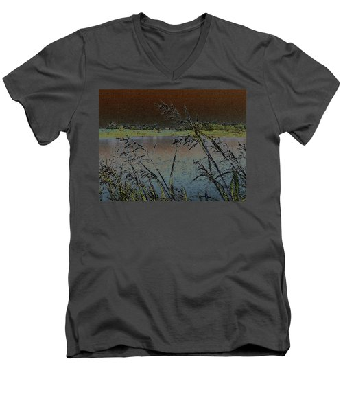 Men's V-Neck T-Shirt featuring the photograph Lake  by Donna G Smith