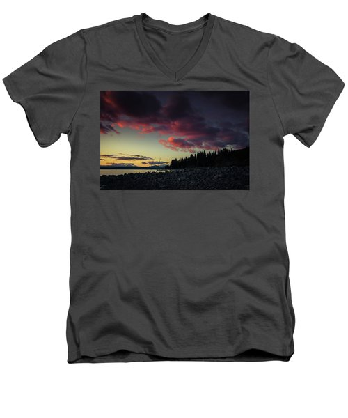 Men's V-Neck T-Shirt featuring the photograph Lake Dreams by Jan Davies