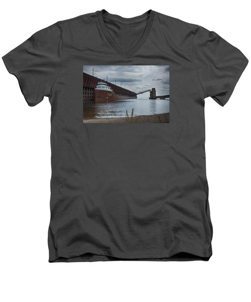 Lake Freighter Men's V-Neck T-Shirt by Dan Hefle