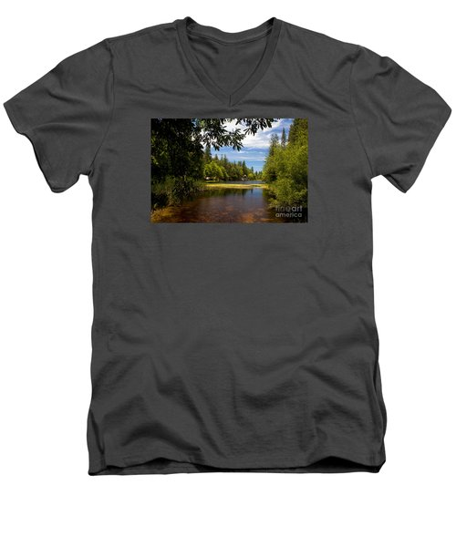 Lake Fulmor View Men's V-Neck T-Shirt by Ivete Basso Photography