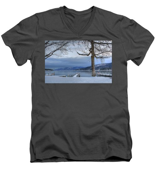 Lake George In The Winter Men's V-Neck T-Shirt by Sharon Batdorf