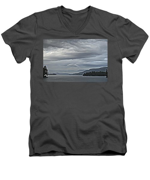 Lake George Rain And Clouds Men's V-Neck T-Shirt