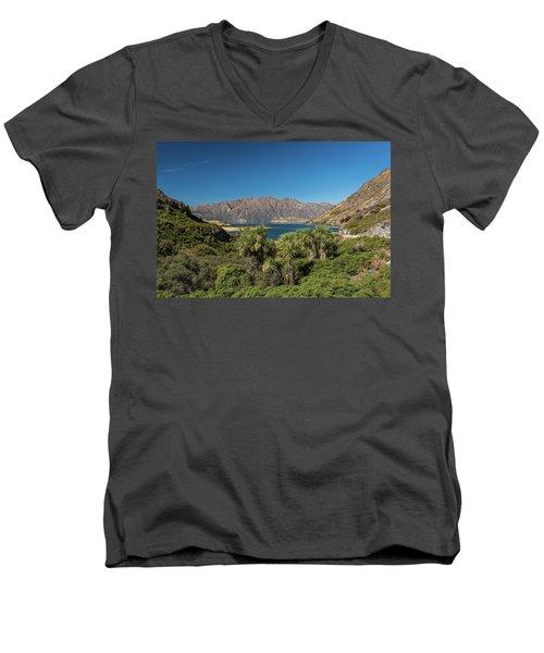 Men's V-Neck T-Shirt featuring the photograph Lake Hawea Approach, Otago by Gary Eason