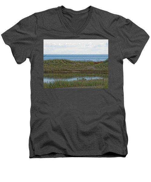 Men's V-Neck T-Shirt featuring the photograph Lake Huron by Tara Lynn
