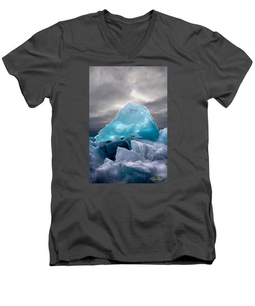 Men's V-Neck T-Shirt featuring the photograph Lake Ice Berg by Rikk Flohr