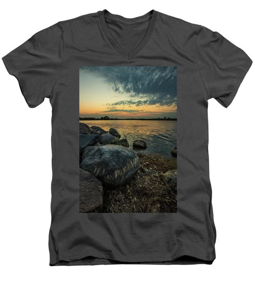 Men's V-Neck T-Shirt featuring the photograph Lake Louise Dusk  by Aaron J Groen