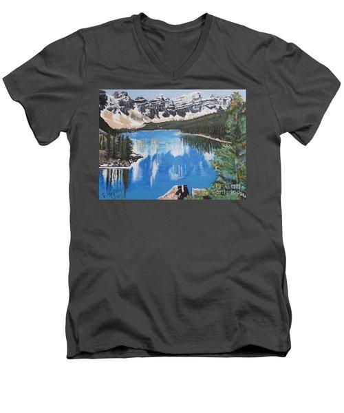Lake Louise  Men's V-Neck T-Shirt by Francine Heykoop