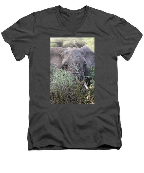 Men's V-Neck T-Shirt featuring the photograph Lake Manyara Elephant by Gary Hall