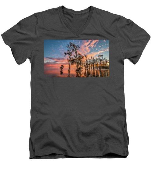 Lake Maurepas On Fire Men's V-Neck T-Shirt