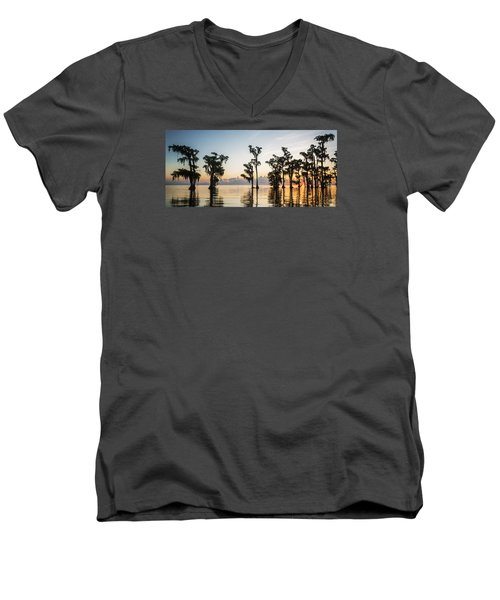 Men's V-Neck T-Shirt featuring the photograph Lake Maurepas Sunrise by Andy Crawford
