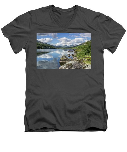 Lake Mymbyr And Snowdon Men's V-Neck T-Shirt by Ian Mitchell