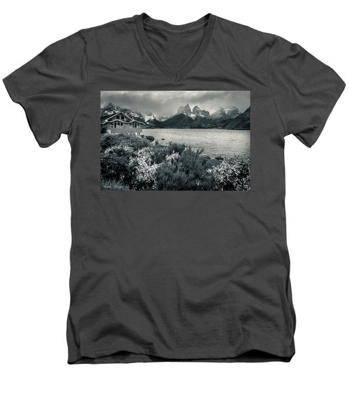Lake Pehoe In Black And White Men's V-Neck T-Shirt by Andrew Matwijec