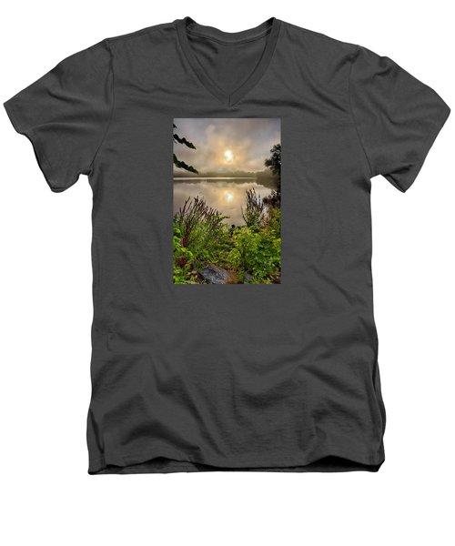 Lake Pentucket Sunrise, Haverhill, Ma Men's V-Neck T-Shirt by Betty Denise