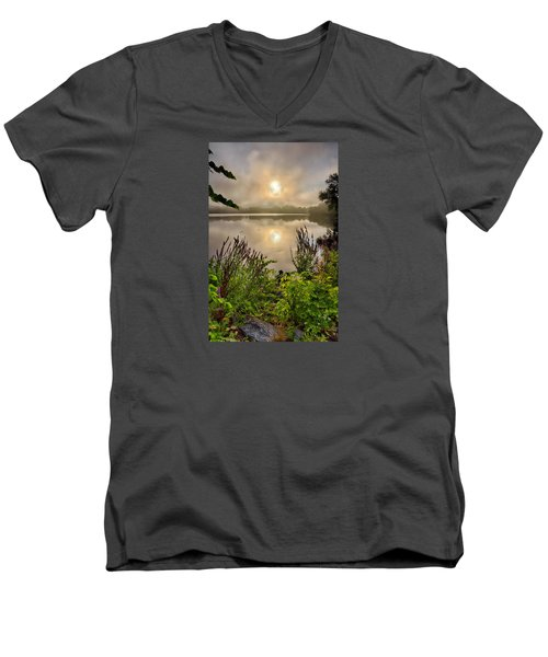 Lake Pentucket Sunrise, Haverhill, Ma Men's V-Neck T-Shirt
