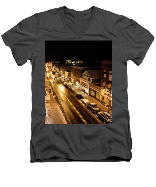 Men's V-Neck T-Shirt featuring the photograph Lake Placid New York - Main Street by Brendan Reals