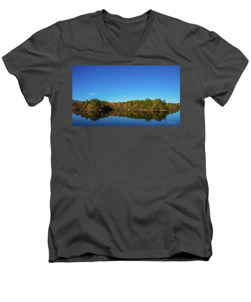 Men's V-Neck T-Shirt featuring the photograph Lake Reflections by Tim Kathka