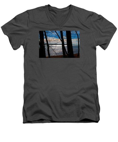 Men's V-Neck T-Shirt featuring the photograph Lake Romance by Valentino Visentini