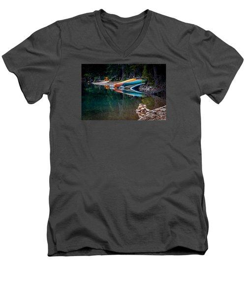 Kayaks At Rest Men's V-Neck T-Shirt by Menachem Ganon