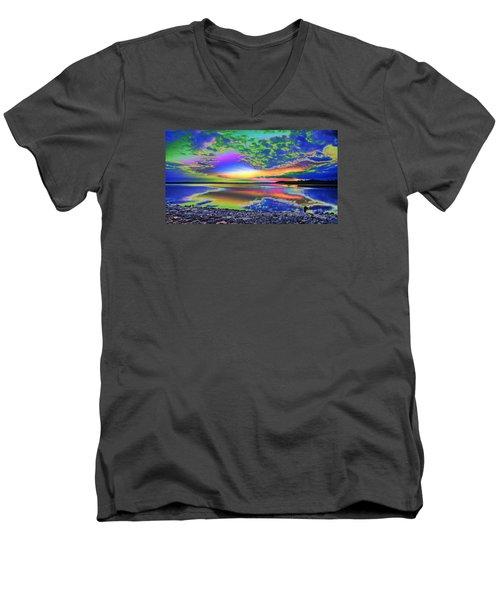 Lake Sunset Abstract Men's V-Neck T-Shirt