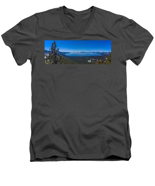 Men's V-Neck T-Shirt featuring the photograph Lake Tahoe Spring Overlook Panoramic by Scott McGuire