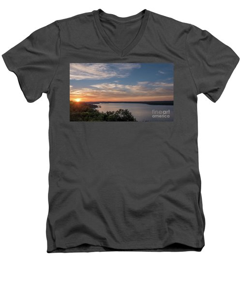 Lake Travis During Sunset With Clouds In The Sky Men's V-Neck T-Shirt