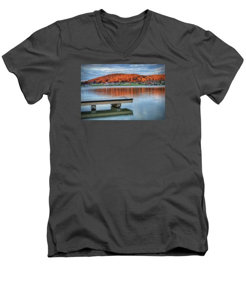 Men's V-Neck T-Shirt featuring the photograph Autumn Red At Lake White by Jaki Miller