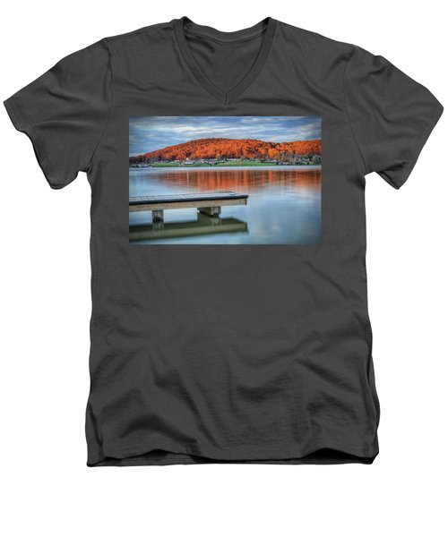 Autumn Red At Lake White Men's V-Neck T-Shirt