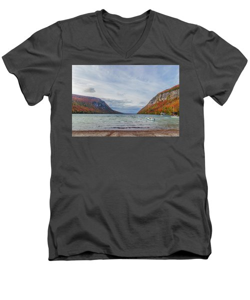 Lake Willoughby Blustery Fall Day Men's V-Neck T-Shirt by Tim Kirchoff