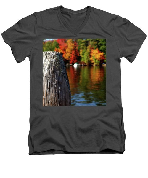 Lake Winnepesaukee Dock With Foliage In The Distance Men's V-Neck T-Shirt