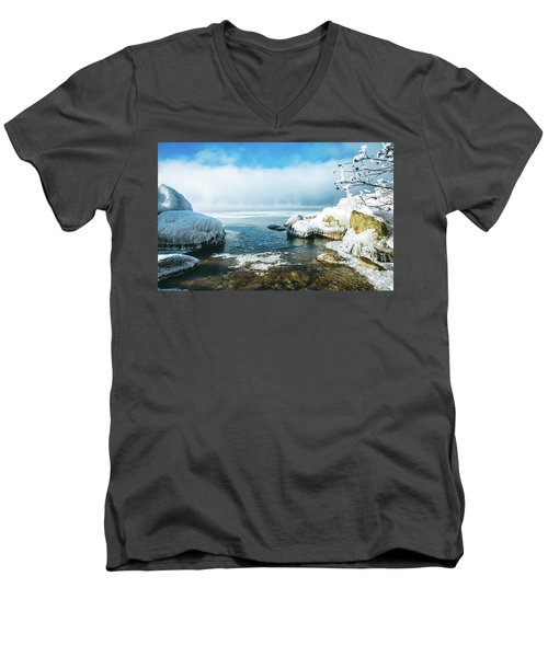 Men's V-Neck T-Shirt featuring the photograph Lake Winnisquam by Robert Clifford