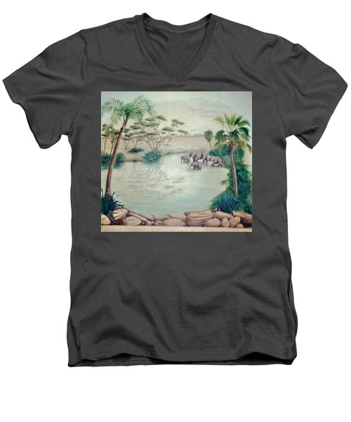 Lake With Oasis And Palm Trees Men's V-Neck T-Shirt