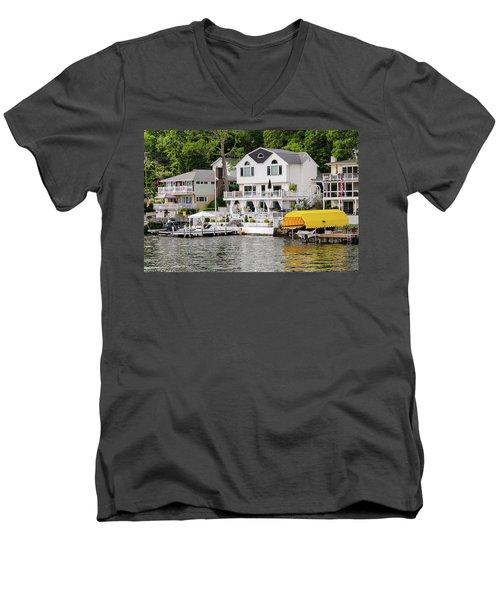 Men's V-Neck T-Shirt featuring the photograph Lakefront Living Hopatcong by Maureen E Ritter