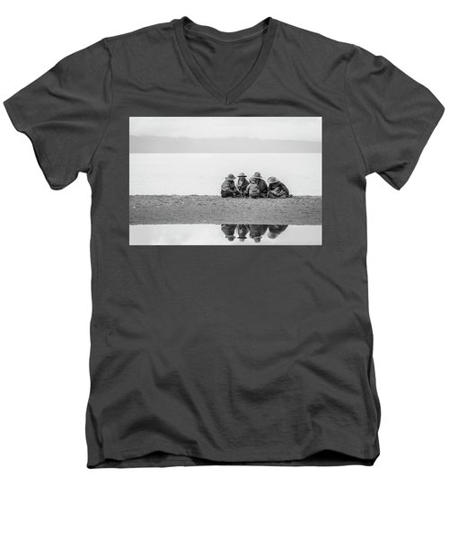 Men's V-Neck T-Shirt featuring the photograph Lakeshore Discussion, Namtso, 2007 by Hitendra SINKAR