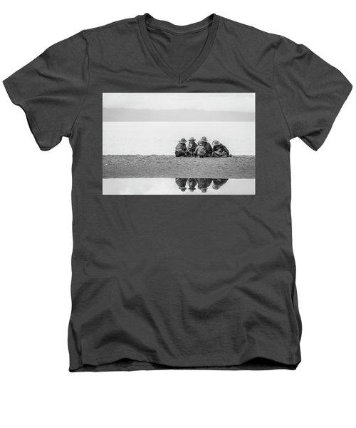Men's V-Neck T-Shirt featuring the photograph Lakeshore Discussion, Namtso, 2007 by Hitendra SINKAR