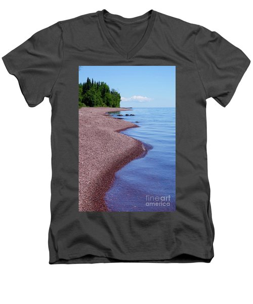 Lakewalk On The Superior Hiking Trail Men's V-Neck T-Shirt by Sandra Updyke