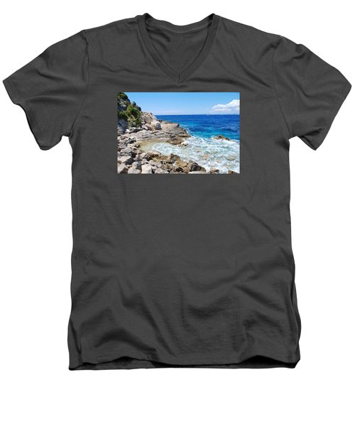 Lakka Coastline On Paxos Men's V-Neck T-Shirt