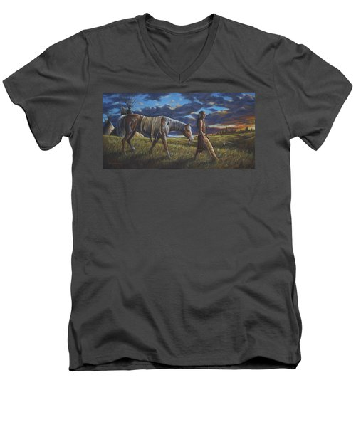 Men's V-Neck T-Shirt featuring the painting Lakota Sunrise by Kim Lockman