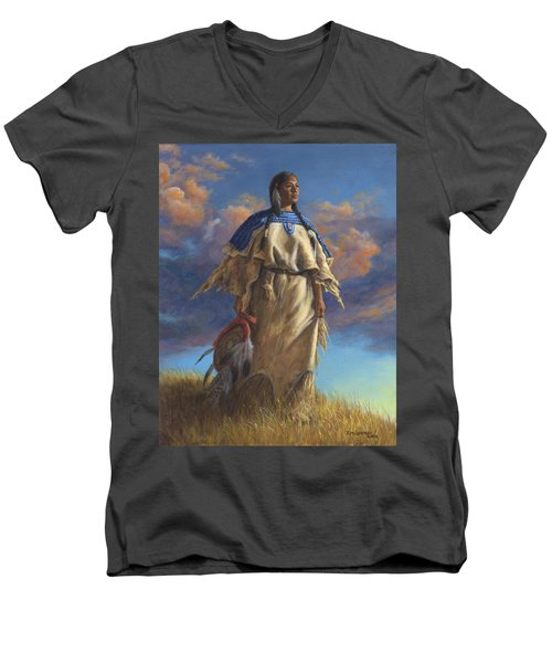 Men's V-Neck T-Shirt featuring the painting Lakota Woman by Kim Lockman