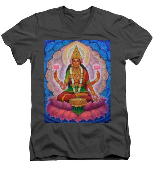 Men's V-Neck T-Shirt featuring the painting Lakshmi Blessing by Sue Halstenberg
