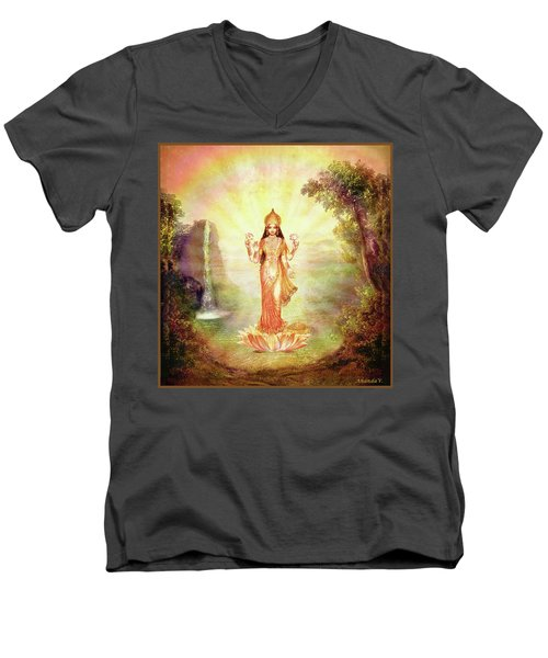 Lakshmi With The Waterfall Men's V-Neck T-Shirt by Ananda Vdovic
