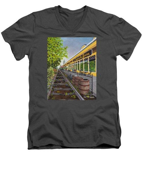 Lambertville Station Men's V-Neck T-Shirt by Val Miller