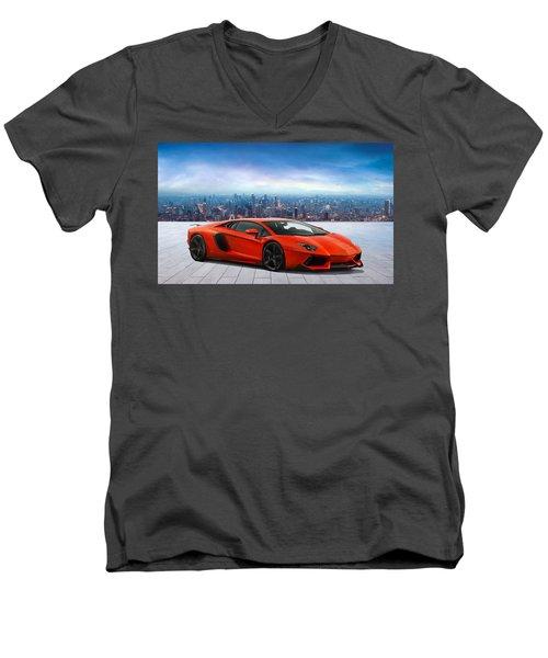 Lambo Cityscape Men's V-Neck T-Shirt by Peter Chilelli