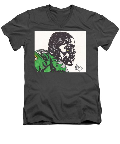 Men's V-Neck T-Shirt featuring the drawing Lamicheal James 2 by Jeremiah Colley