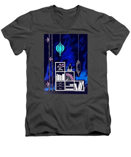 Lamps, Books, Bamboo -- Negative Men's V-Neck T-Shirt